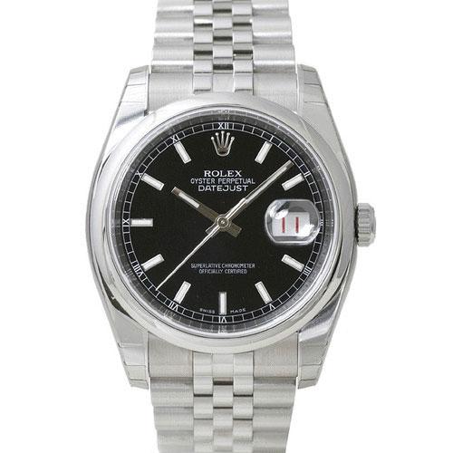 ROLEX デイトジャスト メンズ 腕時計 ブラック 116200
