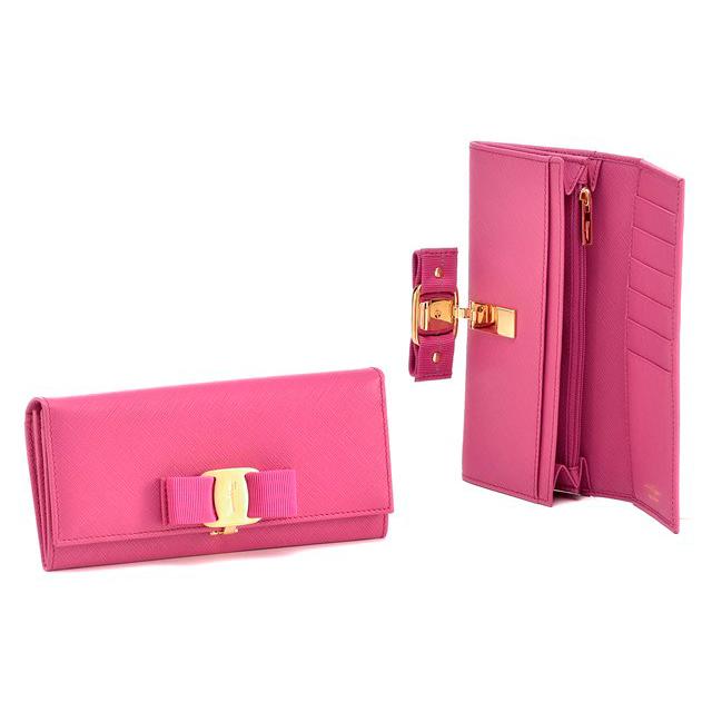 Salvatore Ferragamo フェラガモ 二つ折り長財布  22-B559 ピンク