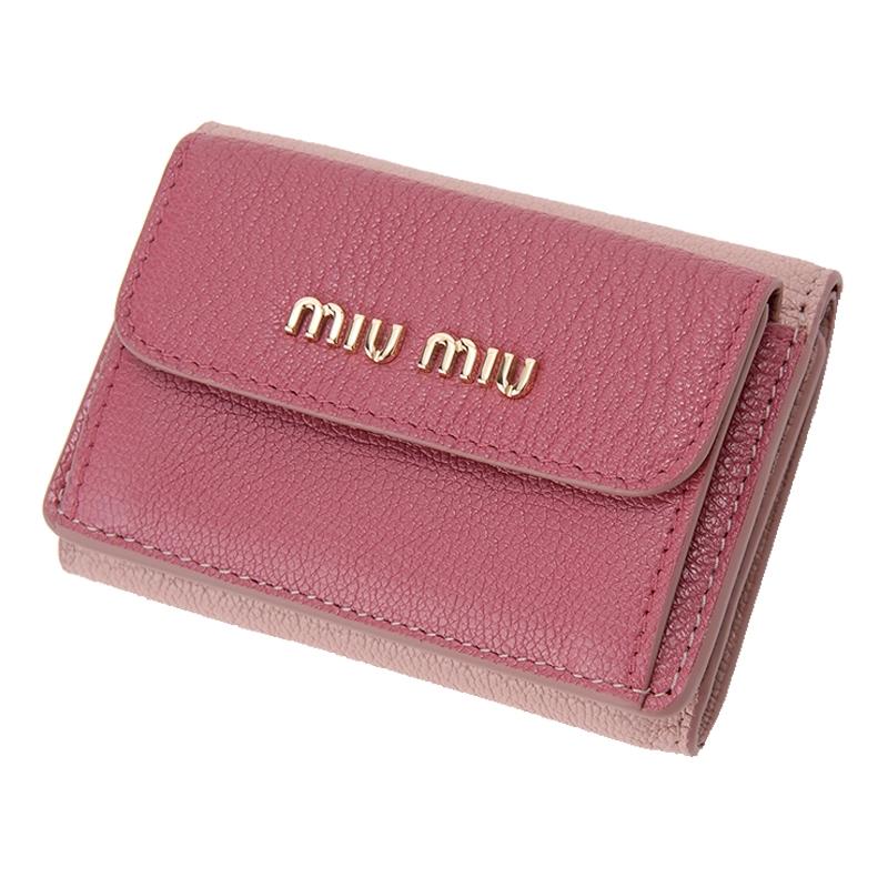 wholesale dealer a4c57 d91f4 ミュウミュウ MIUMIU 折り財布三つ折り 5MH020 PINK/DARK PINK ...