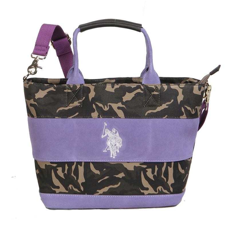 66e5663b3c ユーエスポロアッスン U.S. POLO ASSN. トートバッグ WIDE BORDER SUEDE US2504 CAMOUFLAGE×PURPLE